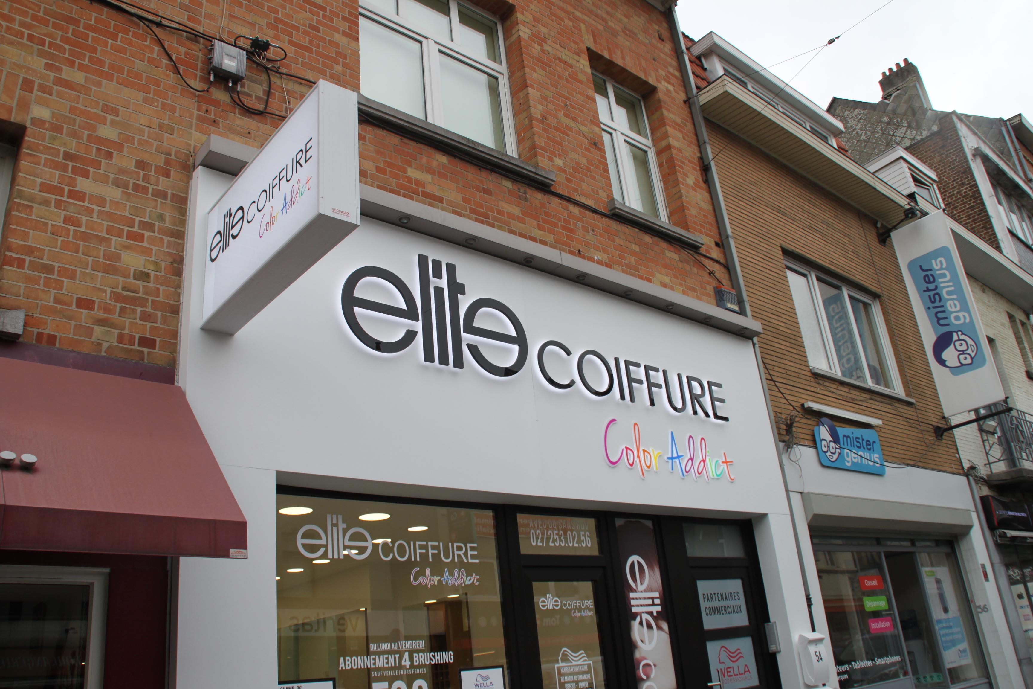 Lettres en relief Elite coiffure Bruxelles