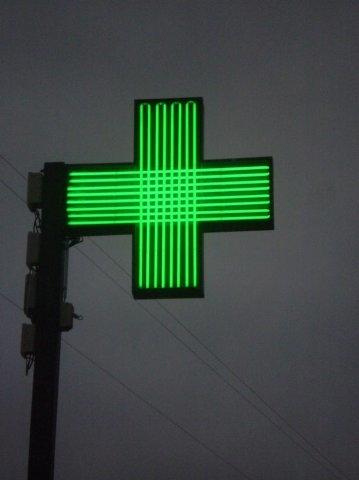 Croix de pharmacie lignée