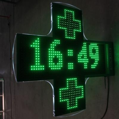 Croix de pharmacie avec affichage horaire