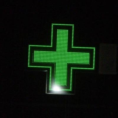 Croix de pharmacie en pointillé