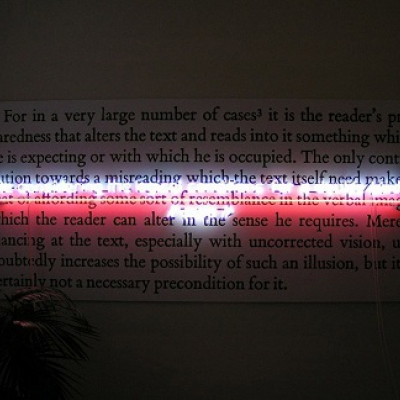 Texte d'artiste en néon